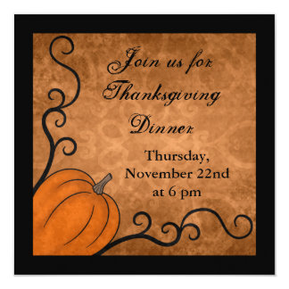 Autumn harvest pumpkin Thanksgiving dinner square 13 Cm X 13 Cm Square Invitation Card
