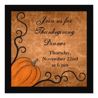 Autumn harvest pumpkin Thanksgiving dinner square 13 Cm X 13 Cm Square Invitation Card