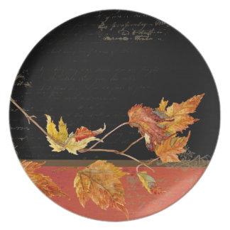 Autumn Harvest Red Maple Falling Leaves Leaf Dinner Plates
