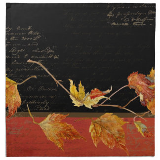 Autumn Harvest Red Maple Falling Leaves Leaf Napkin