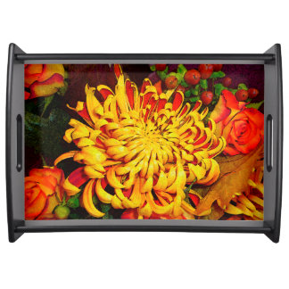 Autumn Harvest, Roses & Chrysanthemum Serving Tray