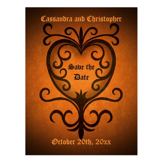 Autumn heart save the date postcard