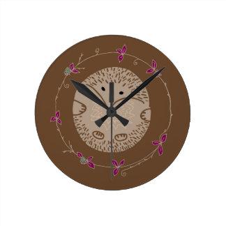 Autumn hedgehog round clock