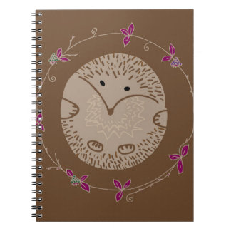 Autumn hedgehog spiral notebooks