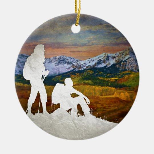 Autumn hike christmas ornament