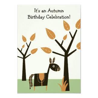 Autumn Horse Birthday Invitation