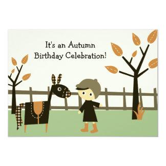 Autumn Horse Birthday Invitation for Boys
