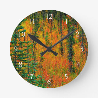 Autumn in a meadow round clock