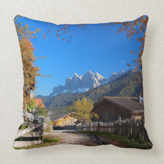 Autumn in a village in the Dolomites in Italy Cushion