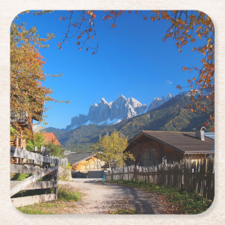 Autumn in a village in the Dolomites in Italy Square Paper Coaster