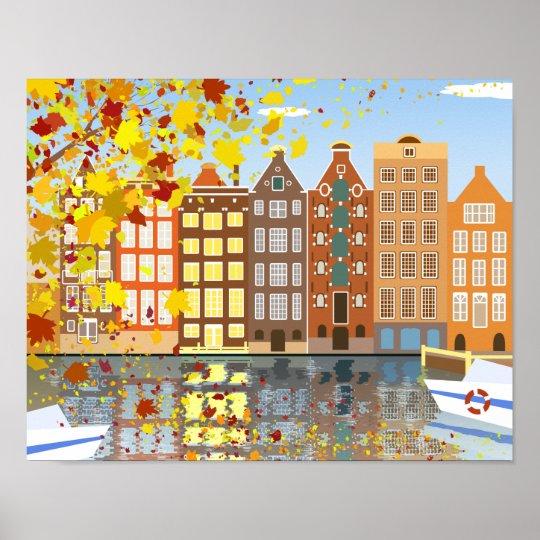 Autumn In Amsterdam Colourful Cityscape Poster