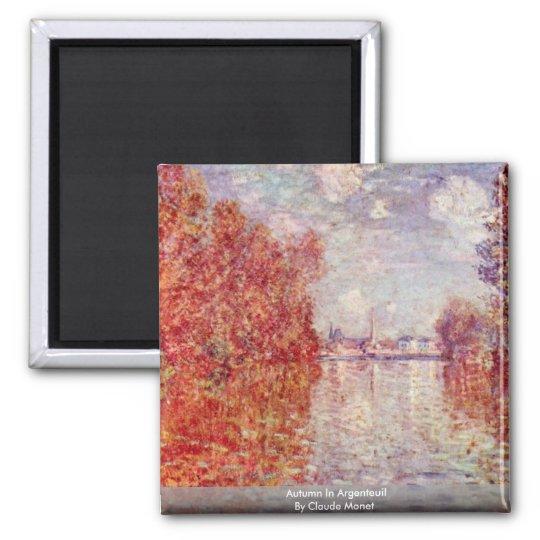 Autumn In Argenteuil By Claude Monet Magnet