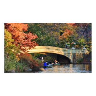 Autumn in Central Park Boaters by Bow Bridge 01 Business Card
