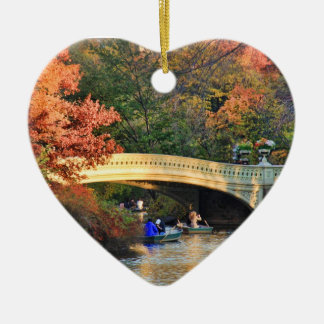 Autumn in Central Park: Boaters by Bow Bridge  #01 Ceramic Heart Decoration