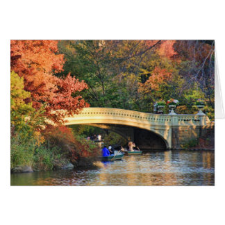 Autumn in Central Park: Boaters by Bow Bridge  #01 Greeting Card