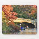 Autumn in Central Park: Boaters by Bow Bridge  #01 Mouse Pad