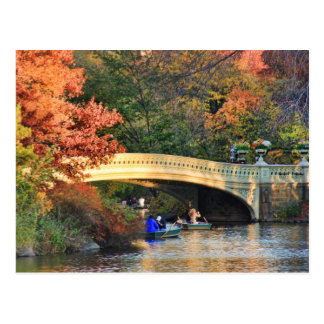 Autumn in Central Park: Boaters by Bow Bridge  #01 Postcard
