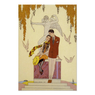 Autumn in France Art Deco Poster