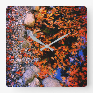 Autumn in Pond Square Wall Clock