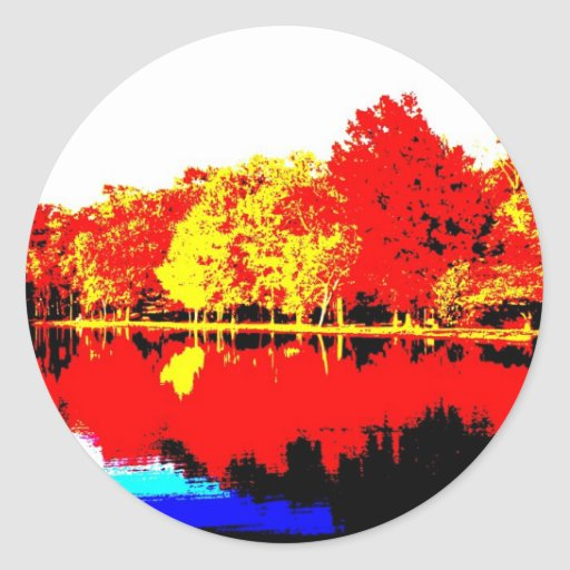Autumn in Primary Colors Round Stickers