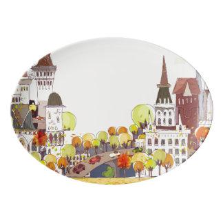 Autumn In The City Porcelain Serving Platter