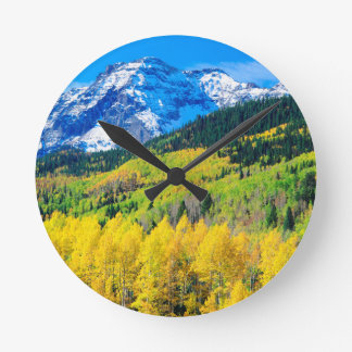Autumn in the Rockies Round Clock