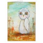 Autumn Joy Whimsical Woodland Owl Art Painting Card