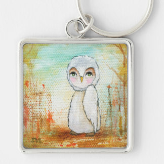 Autumn Joy Whimsical Woodland Owl Art Painting Key Ring