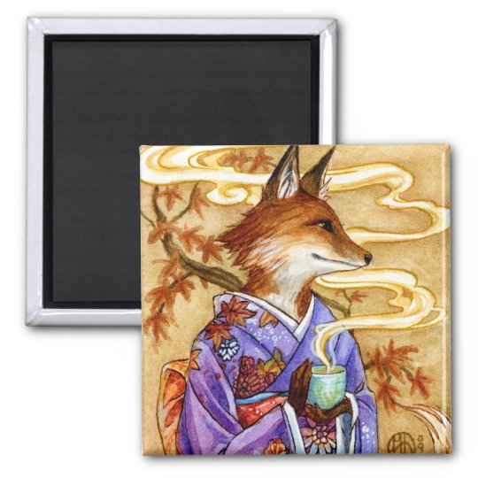 Autumn Kitsune Fox with Tea by Meredith Dillman Square Magnet