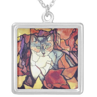Autumn Kitty Fall leaves Cute cat silver necklace