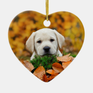 Autumn Labrador Ceramic Heart Decoration