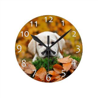 Autumn Labrador Round Clock
