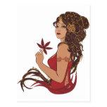 Autumn lady post card