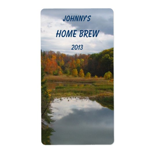 Autumn Lake Beer Label Shipping Label