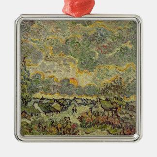 Autumn landscape, 1890 Silver-Colored square decoration