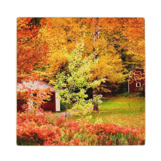 Autumn Landscape Maple Wood Coaster