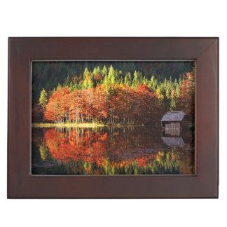 Autumn landscape on a lake keepsake boxes