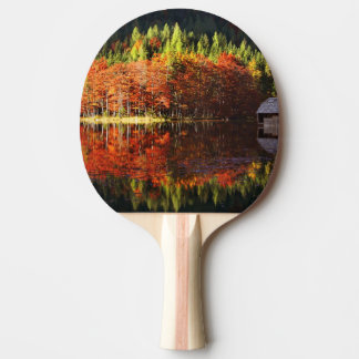 Autumn landscape on a lake ping pong paddle