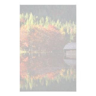 Autumn landscape on a lake stationery design