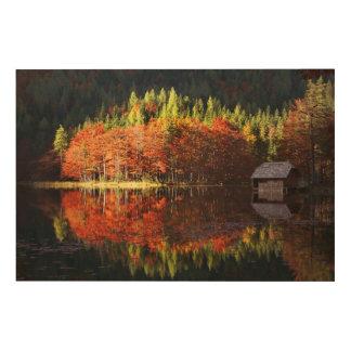 Autumn landscape on a lake wood prints