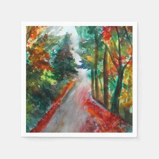 Autumn Landscape Watercolor Cocktail Paper Napkins