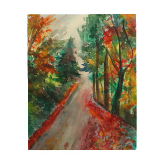 Autumn Landscape  Watercolor Wood Wall Art