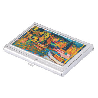 Autumn Landscape with Boats by Wassily Kandinsky Business Card Holder