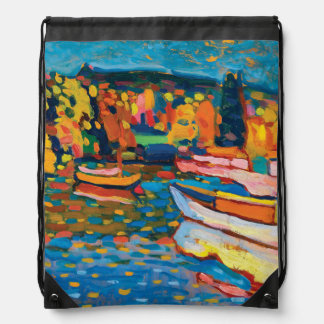 Autumn Landscape with Boats by Wassily Kandinsky Drawstring Bag