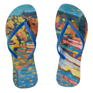 Autumn Landscape with Boats by Wassily Kandinsky Flip Flops