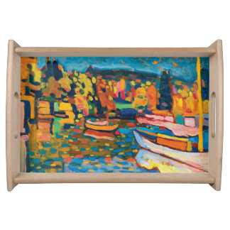 Autumn Landscape with Boats by Wassily Kandinsky Serving Tray