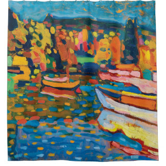 Autumn Landscape with Boats by Wassily Kandinsky Shower Curtain