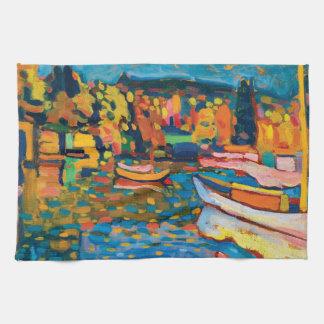 Autumn Landscape with Boats by Wassily Kandinsky. Tea Towel