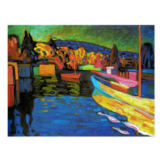 Autumn Landscape With Boats Postcard