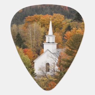 Autumn landscape with church, Vermont, USA Guitar Pick
